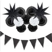 Siyah Beyaz Doğum Günü Konsepti Parti Malzemeleri ve Süsleri