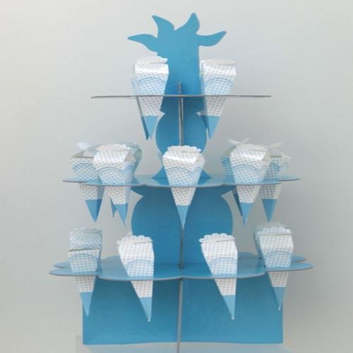 1 Ad 3 katlı Külahlı Stand + 20 Adet Lokum Külahı.Mavi Erkek Doğum günü vb.
