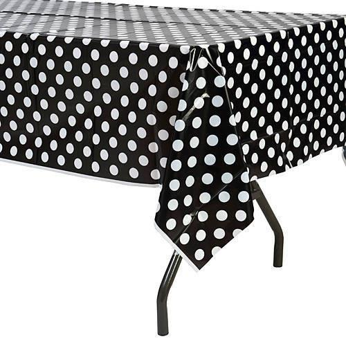 1 Ad Beyaz Puantiyeli Siyah Masa Örtüsü 120x180 Kullan At Plastik
