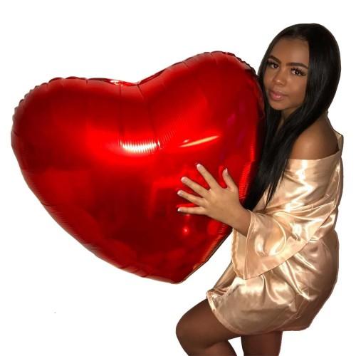 1 Ad Büyük Kırmızı 60cm Kalp Balon Helyumla Uçan Evlilik Teklifi