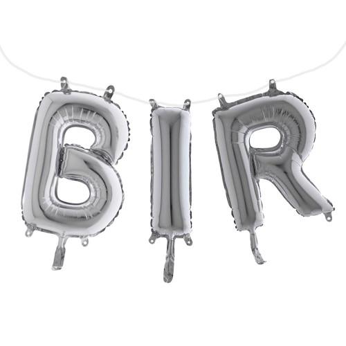 1 Ad Gümüş Gri Bir Yazılı 1 Yaş Süsleme Konsepti 40cm Folyo Balon
