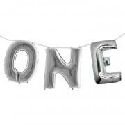 1 Ad Gümüş Gri One Yazılı 1 Yaş Süsleme Konsepti 40cm Folyo Balon