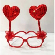 1 Ad Kırmızı Kalpli Gözlük, Pullu Çılgın Doğum Günü Parti Gözlüğü