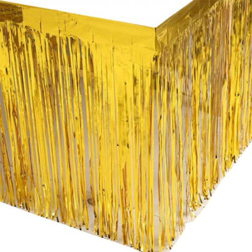 1 Ad Metalik Gold (Altın) Püsküllü Parti Masası Eteği Örtüsü Süsü