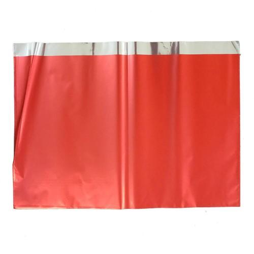 1 Adet Metalize Kırmızı Hediye Paketi, Kendinden Bantlı 50x70 cm