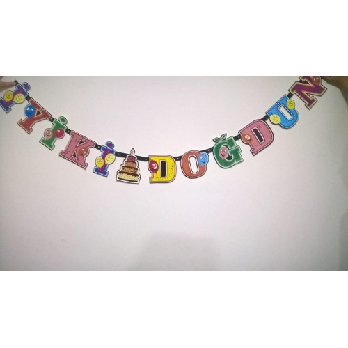 1 Ad  renkli İyi ki Doğdun yazı Doğum Günü Parti Süsü Pd0990