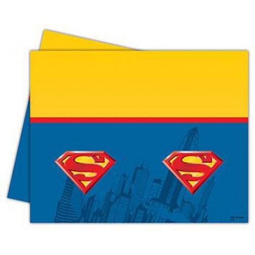 1 Ad Superman Plastik Masa Örtüsü, 120x180cm Süpermen Doğum Günü