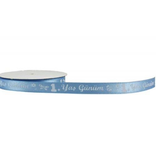 1 Adet 1.Yaş Günüm Yazılı Mavi Kurdele, 1cmx10metre