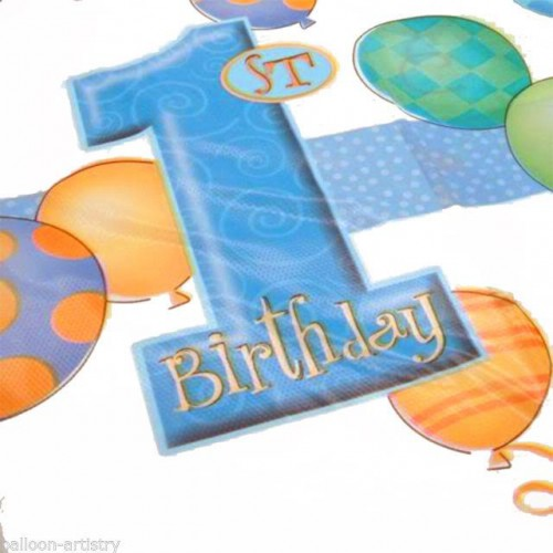 1 Adet 1 Yaş Masa Örtüsü Mavi Erkek 120x180 Doğum Günü Parti