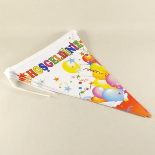 1 Adet 10 Bayraklı Hoşgeldiniz Flama Doğum Günü Parti.