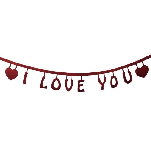 1 Adet 100cm Kırmızı I Love You Keçe Yazısı, Romantik Süsleme