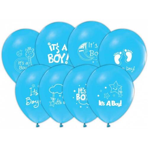 1 Adet 16lı Mavi Baby Shower Konsept Baskılı Balon