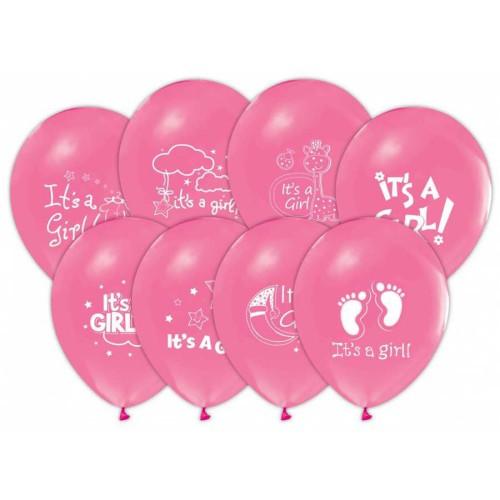 1 Adet 16lı Pembe Baby Shower Konsept Baskılı Balon