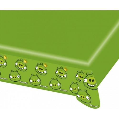 1 Adet 180x120 cm Angry Birds Masa Örtüsü, Yeşil Domuz Desenli