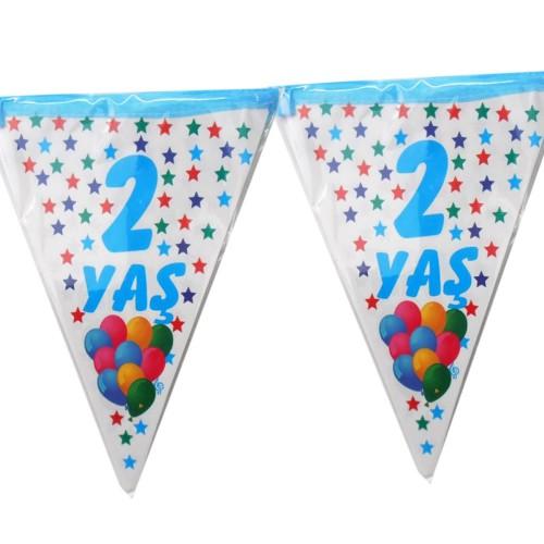 1 Adet 2 Yaş Bayrak Flama Mavi Erkek 2. 2 Metre Doğum Günü