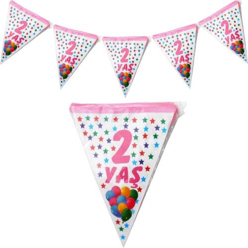 1 Adet 2 Yaş Bayrak Flama Pembe Kız 2. 2 Metre Doğum Günü