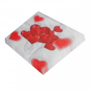 1 Adet 20li Kalpli Peçete, Kırmızı Kalp Desenli Romantik 33x33cm