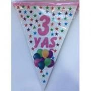 1 Adet 3 Yaş Bayrak Flama Pembe Kız Doğum Günü 2. 2 Metre