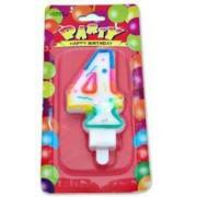 Renkli 4 Yaş Rakam Mum, Doğum Günü Partisi Pasta Malzemesi