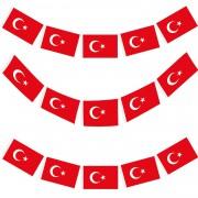 1 Adet 40lı Flama Şeklinde İpli Türk Bayrağı