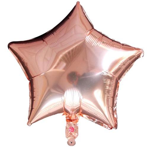 1 Adet 45 cm Gold Rose Yıldız Folyo Balon, Doğum Günü Balonu