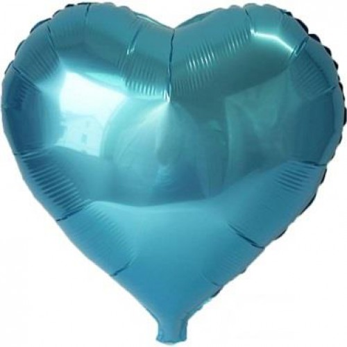 1 Adet 60 cm Turkuaz Kalpli Folyo Balon Helyumla Uçan