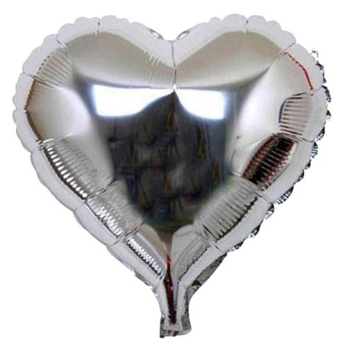 1 Adet 60cm Gümüş Gri Kalpli Folyo Balon Helyumla Uçan