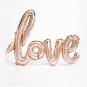 1 Adet Bakır-Gold Rose Love İmzalı Folyo Balon 70cm x 36cm