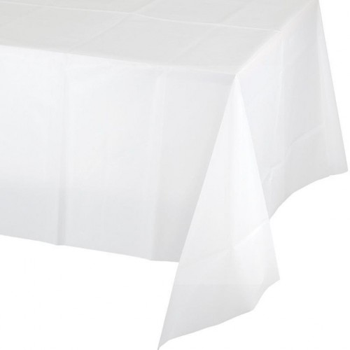 1 Adet Beyaz Düz Masa Örtüsü, 137x274 cm Doğum Günü Partisi Ucuz