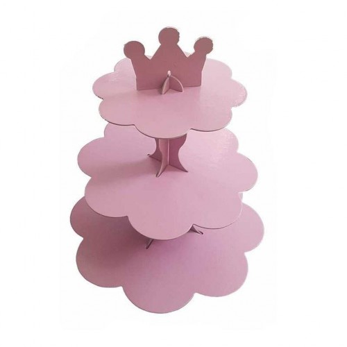 1 Adet Düz Pembe 3 Katlı Kek Standı, Karton Cupcake Stand