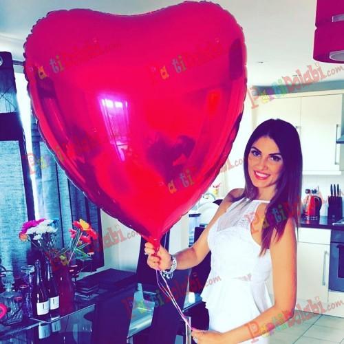 1 Adet En Büyük Kırmızı kalpli balon 100cm Jumbo Helyumla Uçan