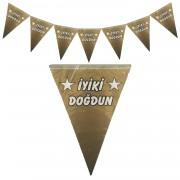 1 Adet Gold Altın Rengi İyi ki Doğdun Flama, Yetişkin Doğum Günü