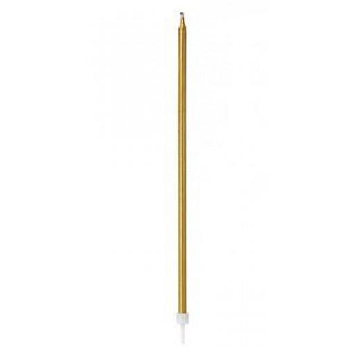 1 Adet Altın Sarısı İnce Uzun Pasta Mumu Uzunluk 20cm Kalınlık 5mm