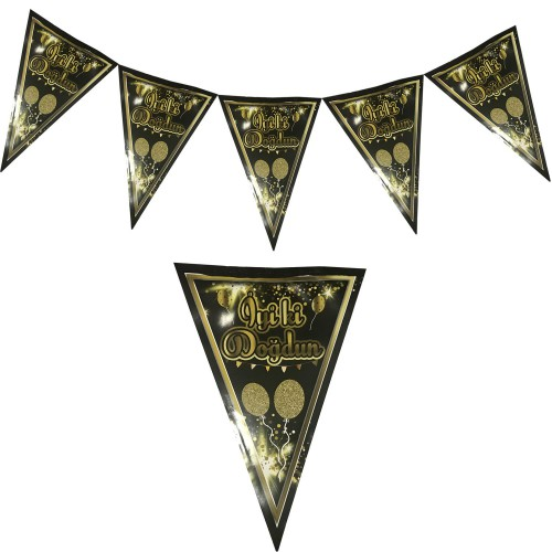 1 Adet Gold (Altın) Siyah İyi Ki Doğdun Yetişkin 1.9m Parti Flama