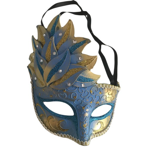 1 Adet Gold-Mavi Göz, Yüz Maskesi Kadın Maskeli Balo, Venedik