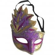 1 Adet Gold-Mor Göz, Yüz Maskesi Kadın Maskeli Balo, Venedik