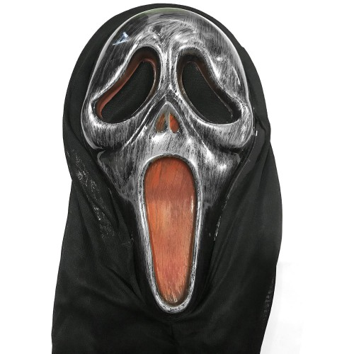 1 Adet Gümüş Gri Çığlık Maskesi, Korku Şakası Aksesuarı