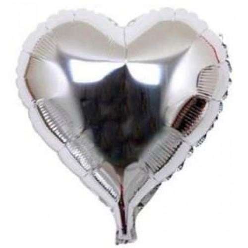1 Adet 45 cm Gümüş Gri Kalpli Şeklinde Folyo Balon