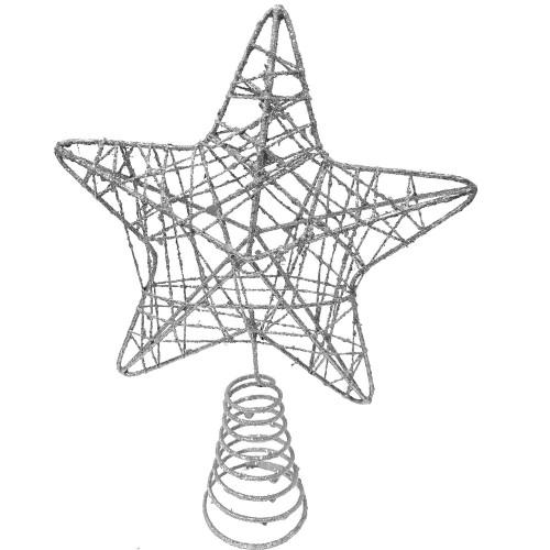 1 Adet Gümüş (Gri) Renk Yıldız Şeklinde Yılbaşı Ağacı Tepe Süsü