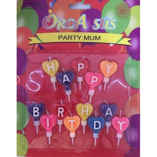 1 Adet Happy Birthday Pasta Mum Seti Pasta Süsü
