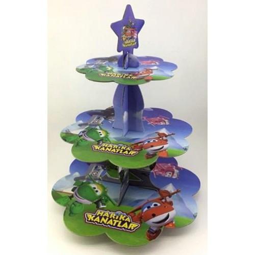 1 Adet Harika Kanatlar Cupcake Kek Standı, 3 Katlı Karton Stand