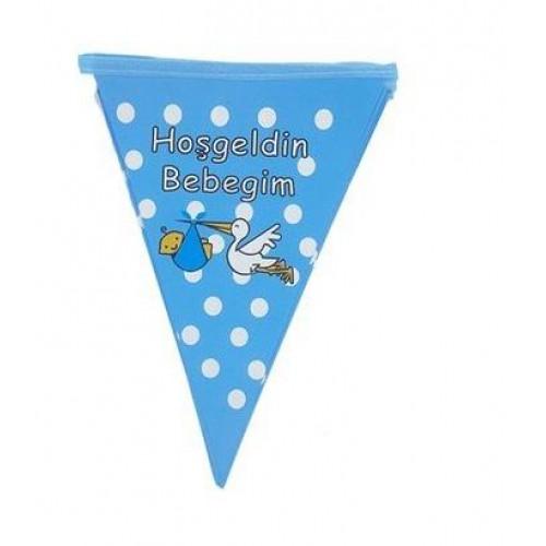 1 Adet Hoşgeldin Bebeğim Mavi Bayrak Flama Erkek Süsleme Malzemeleri Doğum Odası