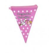 1 Adet Hoşgeldin Bebeğim Yatay Yazı Flama Bayrak Pembe Kız Süsleme Malzemeleri Doğum Odası