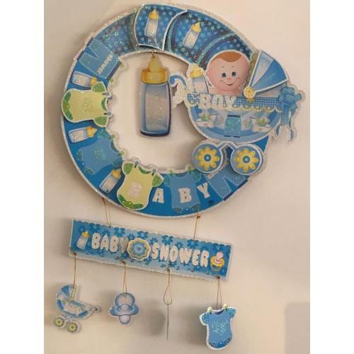 1 Adet Hoşgeldin Bebek Kapı Süsü Mavi Erkek Doğum Odası Baby Shower