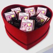 1 Adet Kırmızı kadife Kalp Kutu Sade 21cm x 17cm x 7cm