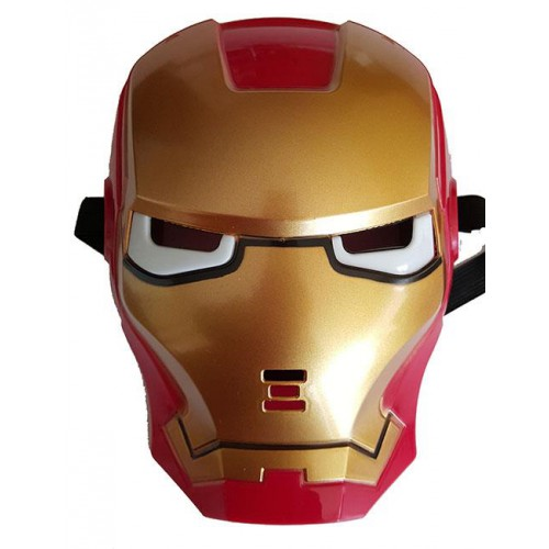 1 Adet Kırmızı Altın Rengi İronman Işıklı Maske