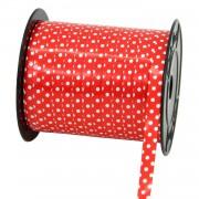 1 Adet Kırmızı Beyaz Puantiyeli Balon İpi, 200mx8mm Rafya, Rabant