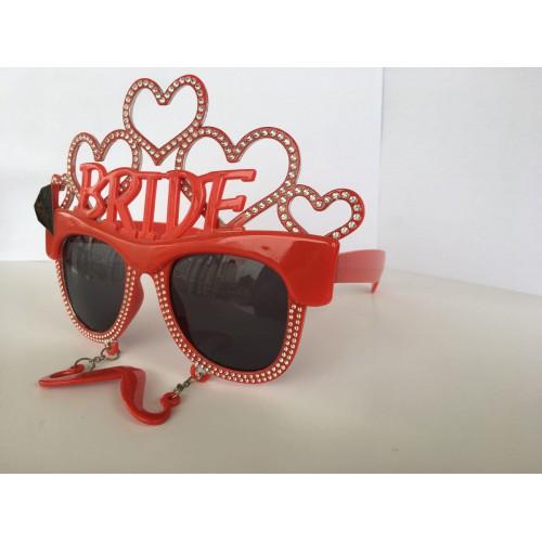 1 Adet Kırmızı Bride Kalpli Gözlük, Büyük Plastik Gelin Gözlüğü