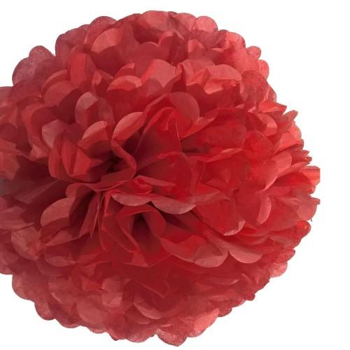 1 Adet Kırmızı Ponpon Gramafon Çiçek Kağıt Doğum Günü Parti Süsü