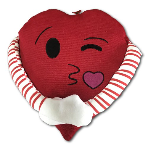 1 Adet Kırmızı Emojili Kollu Sarılan Sevgiliye Hediye Kalp Yastık